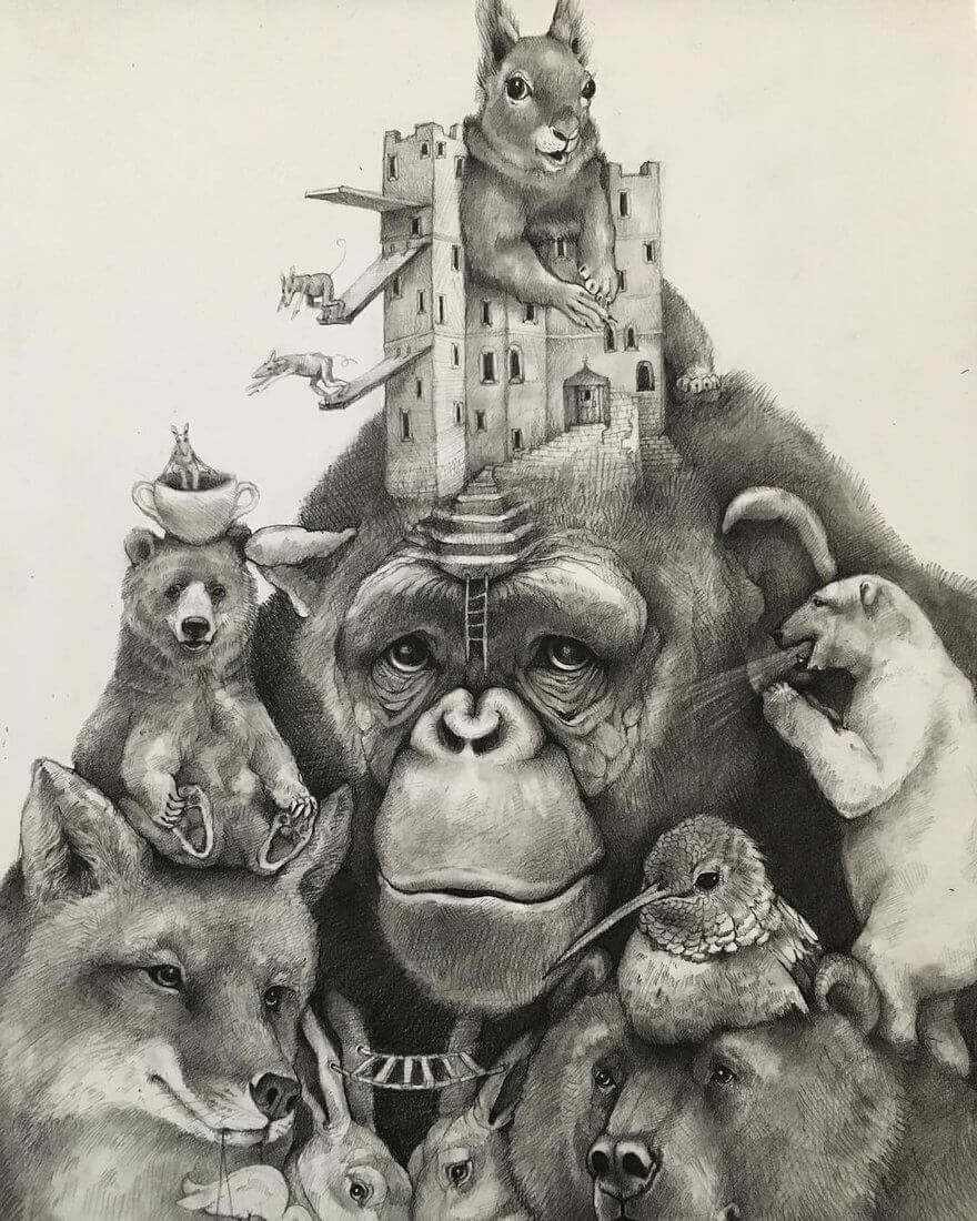 10-Small-and-Very-Large-Surreal-Animal-Drawings-www-designstack-co
