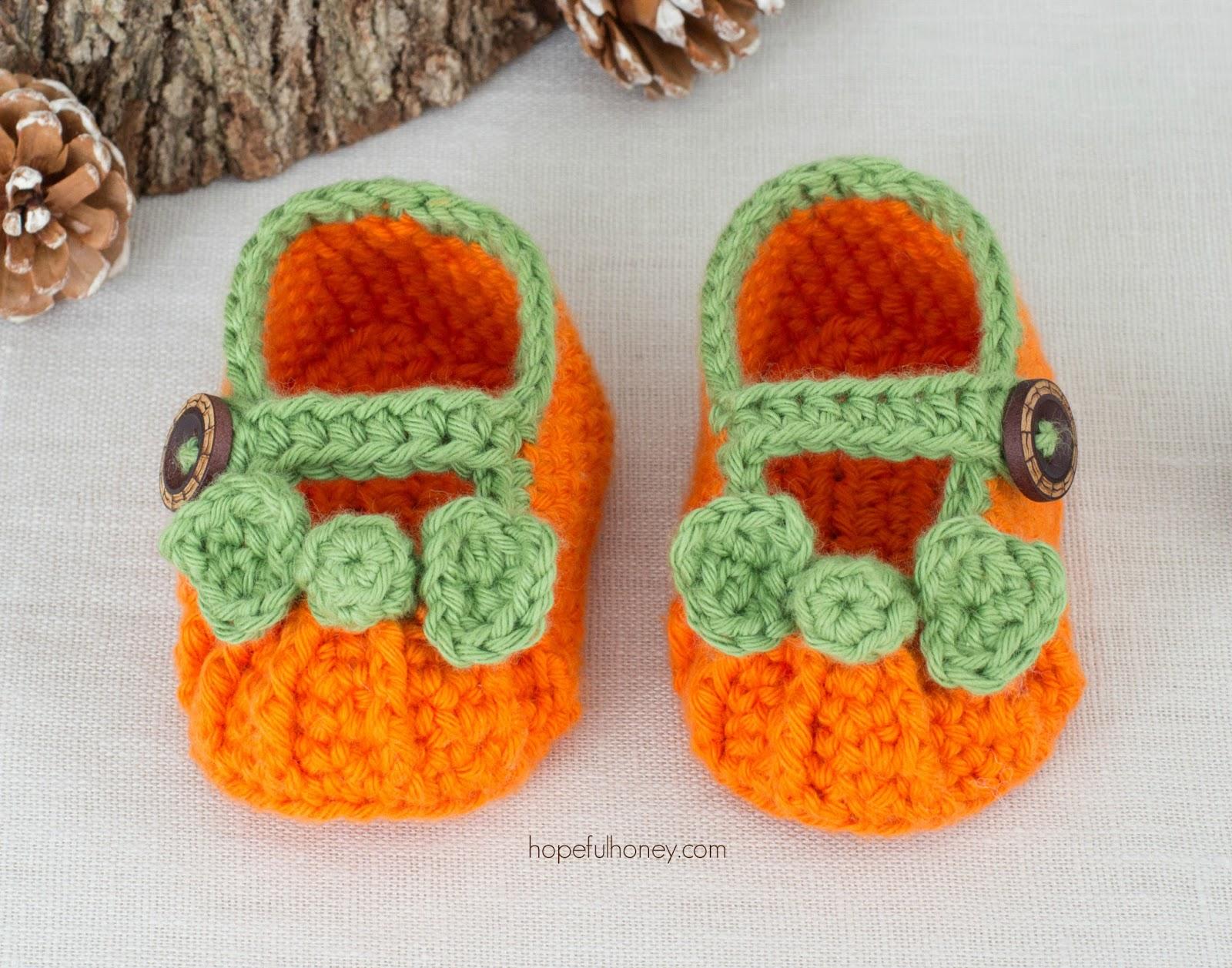 Baby Booties Crochet Pattern Dk Wool : Hopeful Honey Craft, Crochet, Create: Pumpkin Spice Baby ...