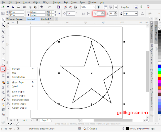 CorelDraw Tutorial Star snap to object circle