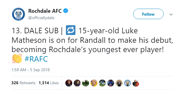 Luke Matheson becomes Rochdale's youngest ever player