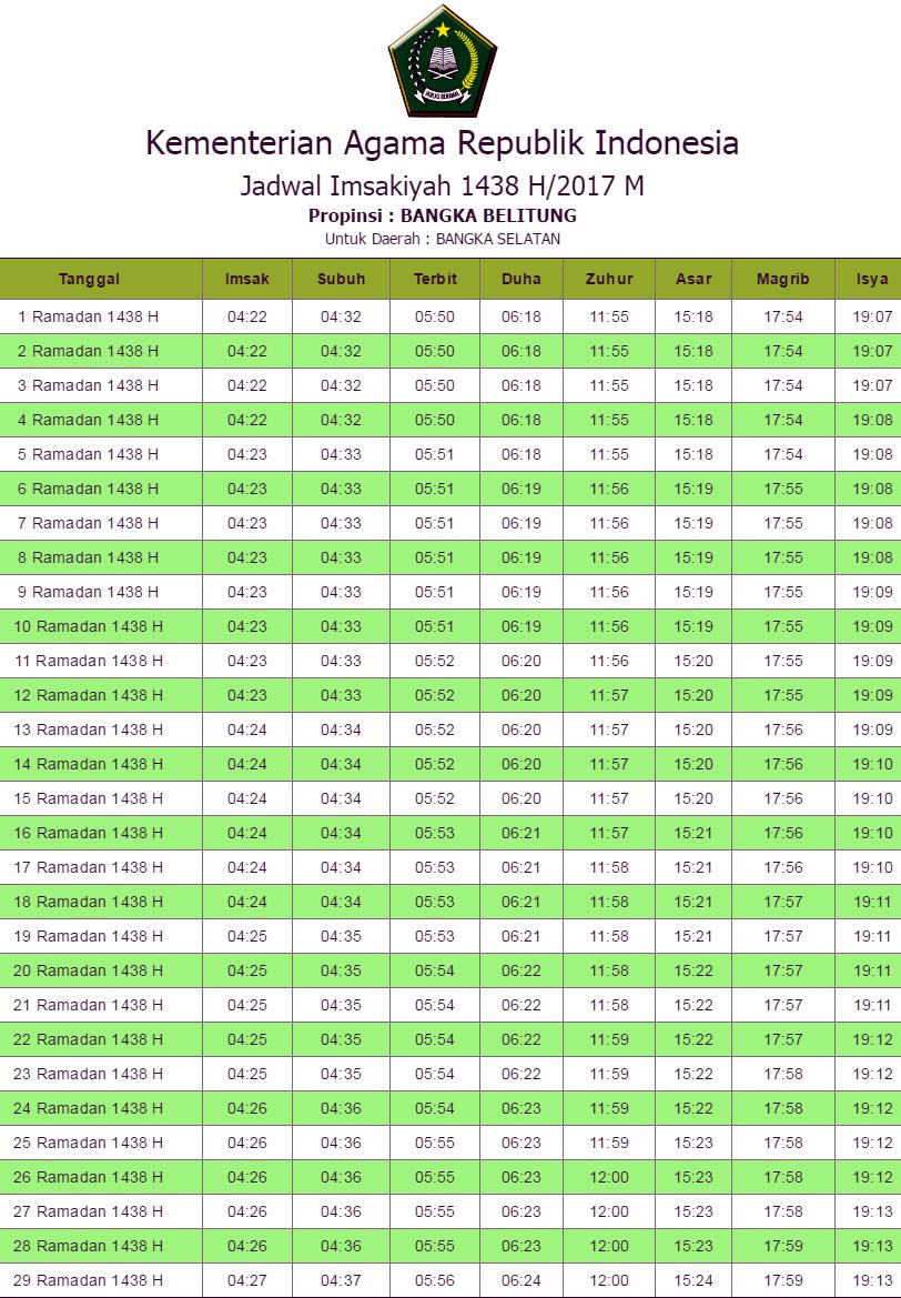 Jadwal Imsakiyah Bangka Selatan 2017