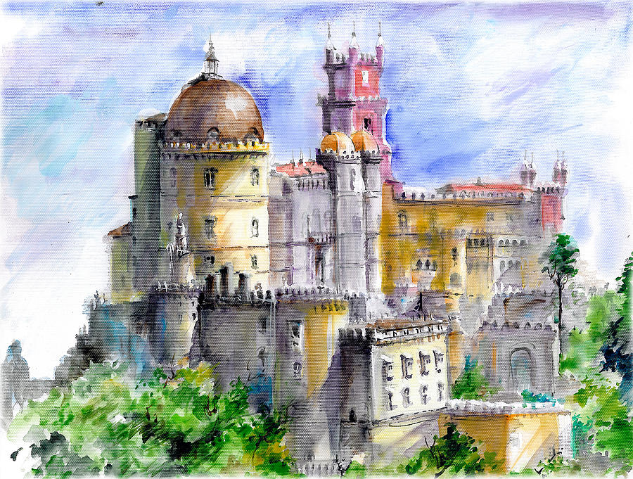 Pena Palace, paintings, sintra, portugal, culture,