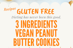 3 Ingredients Gluten free Vegan Peanut Butter Cookies #glutenfree