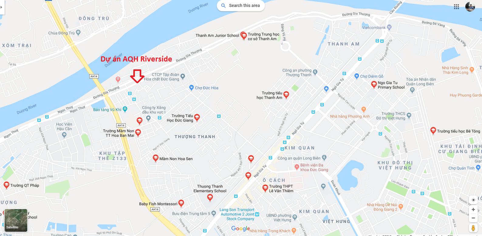 Bản đồ trường học xung quanh chung cư AQH Riverside.