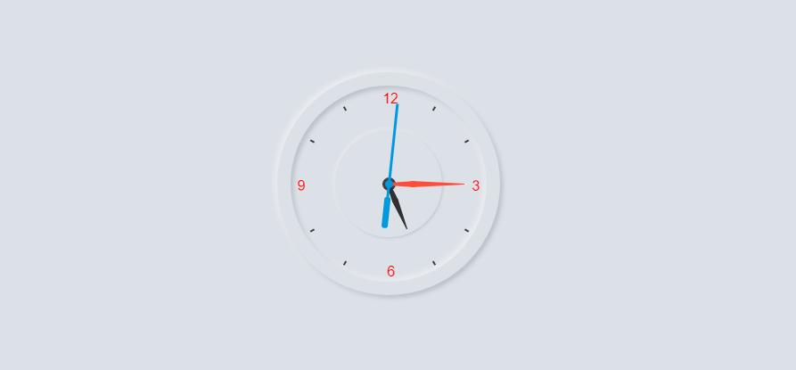 Working Analog Clock using HTML CSS & Javascript | Neumorphsim UI Design