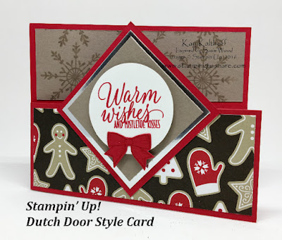 Stampin' Up! Dutch Style Door Card by Kay Kalthoff, Stamping to Share. I used Holly Berry Happiness Bundle and Tin of Tags Stamp Set.