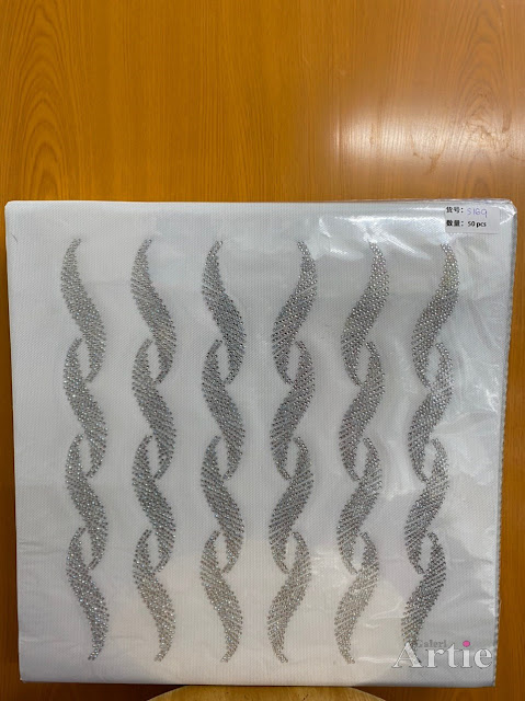Sticker hotfix rhinestone DMC 6 jalur aplikasi tudung, bawal & fabrik pakaian corak twist