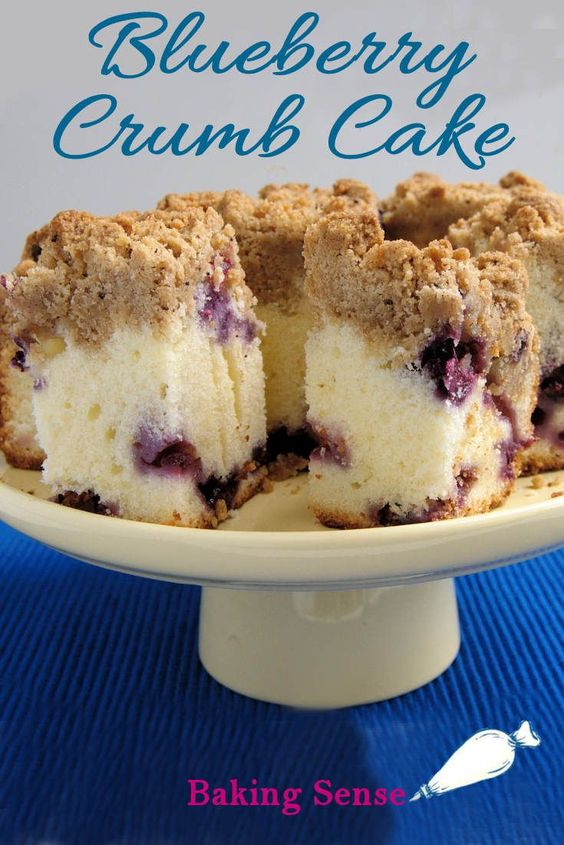 I love the combination of a very light and soft cake under a chunky topping of  brown sugar  and cinnamon crumbs. Let's face it, it's all about the crumb topping and the blueberries!