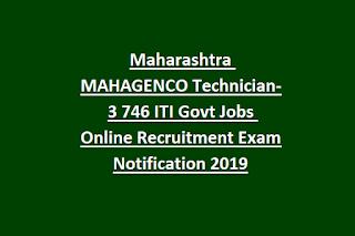 Maharashtra MAHAGENCO Technician-3 746 ITI Govt Jobs Online Recruitment Exam Notification 2019