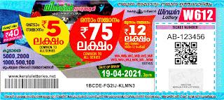 Kerala Lotteries Results 19-04-2021 Win Win W-612 Lottery Result
