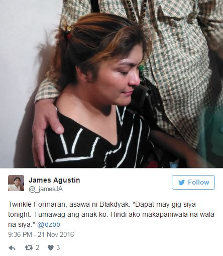 "Twinkle Estanislao-Formaran, Blakdyak's Wife, Clueless About Husband's Death: ""Dapat may gig siya tonight"""