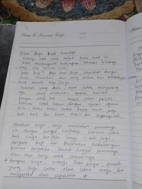 "Gempar Kades Bunuh Diri, Tulis Pesan: ""Jangan Sekali-kali Masuk Politik, Setiap Hari Terpaksa Bohong"""