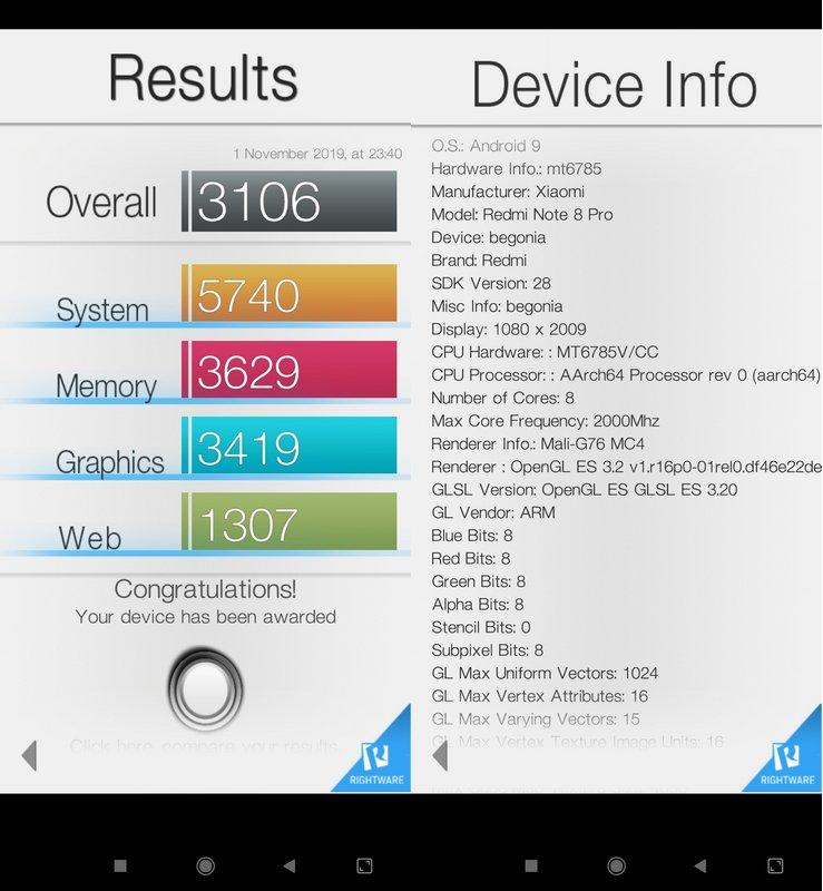 Benchmark Basemark OS II Xiaomi Redmi Note 8 Pro