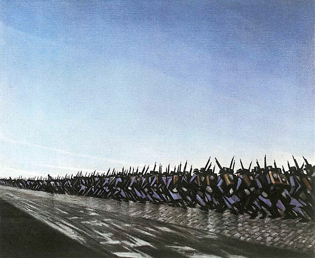 a C.R.W. Nevinson procession of soldiers