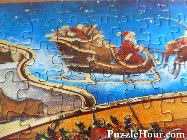 Santa claus Father Christmas sleigh jigsaw puzzle Waddingtons limited edition gold foil