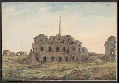 Watercolor drawing of the Asoka Pillar at Firoz Shah Kotla