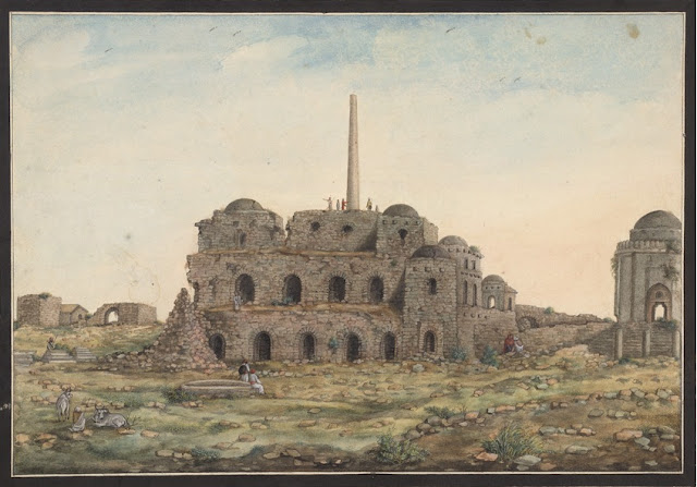 Watercolor drawing of the Asoka Pillar at Firoz Shah Kotla