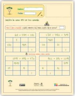 Ficha interactiva: Sumas 3 sumandos incompletas ABN.