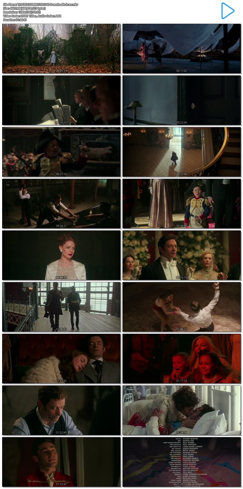 The Greatest Showman 2017 English 720p HEVC BRRip ESubs