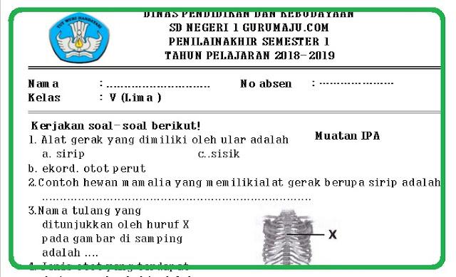 Soal UAS Kelas 5 Semester 1 K13 Revisi Tahun 2018/2019