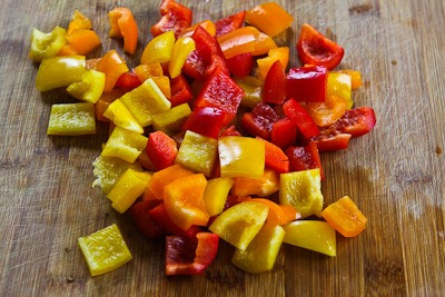 Chopped Greek-Style Salad Recipe with Red, Yellow, and Orange Bell Pepper from KalynsKitchen.com