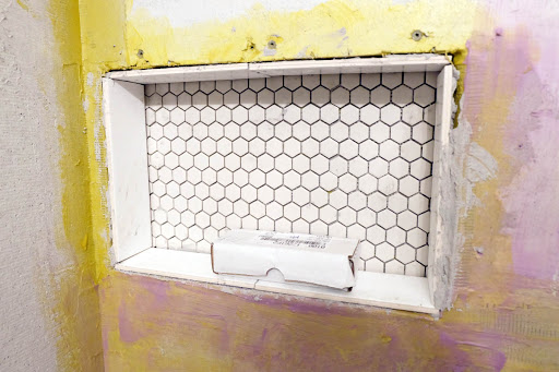 wall niche tile installation