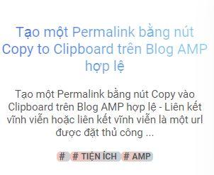 Tạo một Permalink bằng nút Copy to Clipboard trên Blog AMP hợp lệ