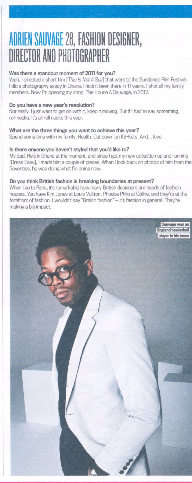 Ghana Rising Fashion Designer Adrien Sauvage Is Voted One Of Shortlist Magazine S 2012 S Best Of British Stars Of The Future