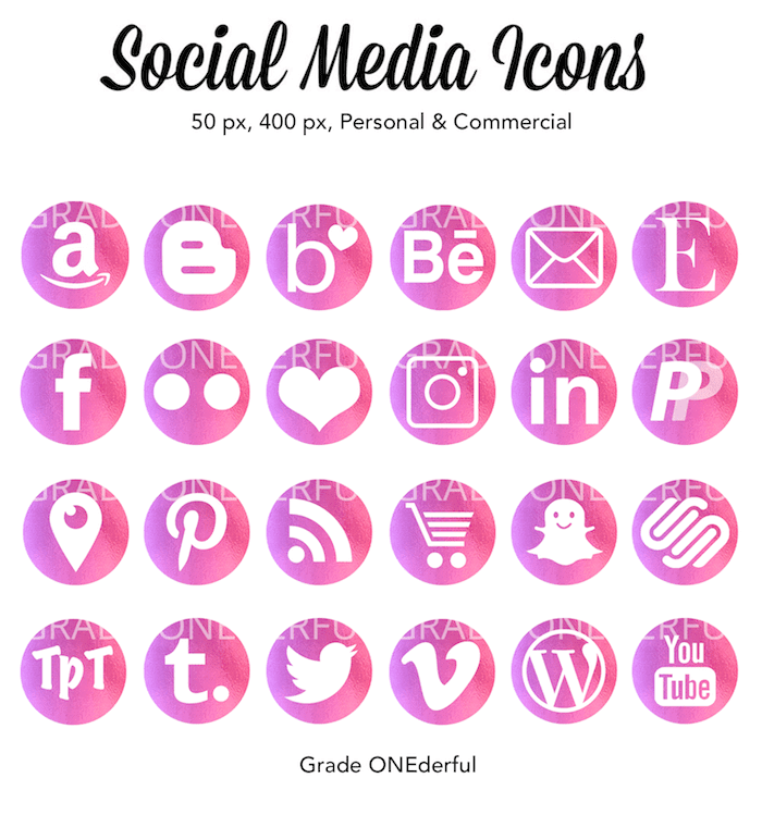 Digital Social Media Icons: Pretty in rose foil