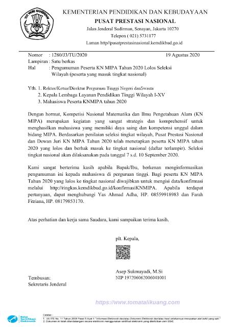 Hasil KNMIPA Tingkat Regional Wilayah Tahun 2020 PDF tomatalikuang.com