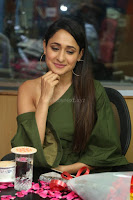 Pragya Jaiswal in a single Sleeves Off Shoulder Green Top Black Leggings promoting JJN Movie at Radio City 10.08.2017 030.JPG