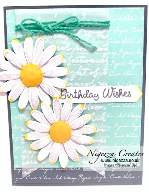Nigezza Creates with Stampin Up, Daisy lane &  Scripty embossing folder