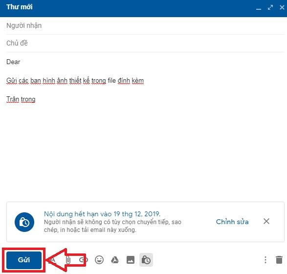 Hoàn thành gửi thư với tính năng bảo mật của gmail