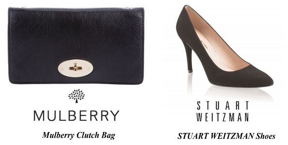 The Duchess Of Cambridge's Mulberry Clutch Bag and STUART-WEITZMAN Shoes