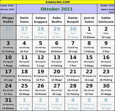 kalender oktober 2021 lengkap jawa hijriyah