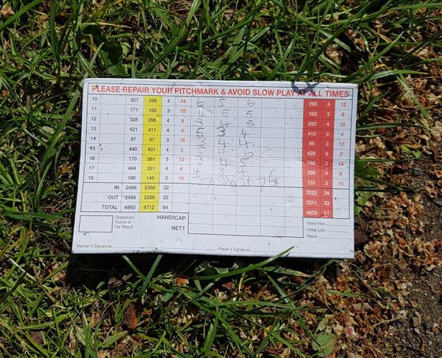 Bruntwood Pitch & Putt scorecard