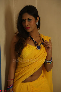 Nishigandha in Yellow backless Strapless Choli and Half Saree Spicy Pics 132.JPG