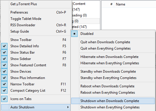 Shutdown when downloads complete