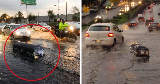 Ataud que flotaba por las calles de la Ciudad de Mexico