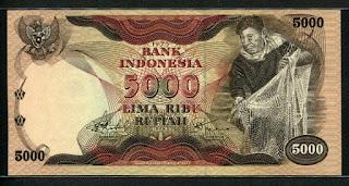 5000 rupiah penjala ikan 1975