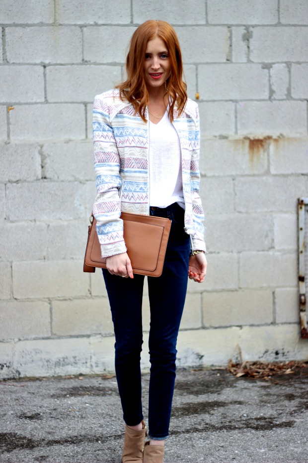 Peach beauty, Patterned blazer, denim, Pastels & Pastries Spring style