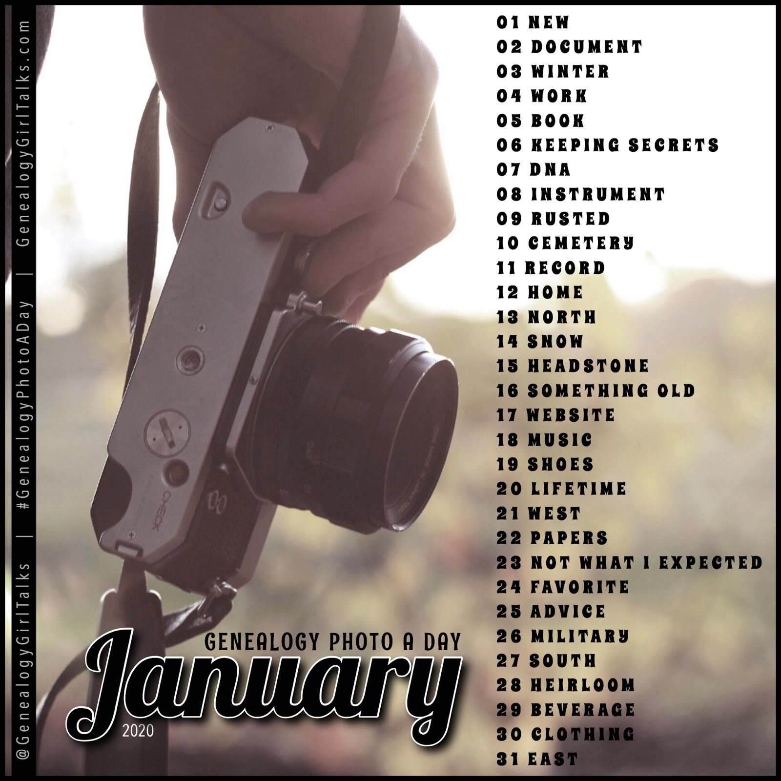 January 2020 Genealogy Photo A Day daily prompts from Genealogy Girl Talks #Genealogy #FamilyHistory #GenealogyPhotoADay