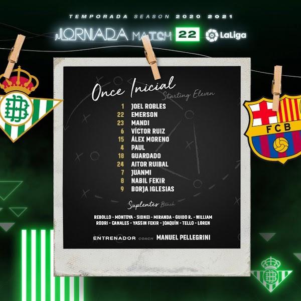 Betis - FC Barcelona, alineaciones oficiales