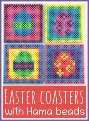 Colourful Easter egg coaster craft using Hama beads