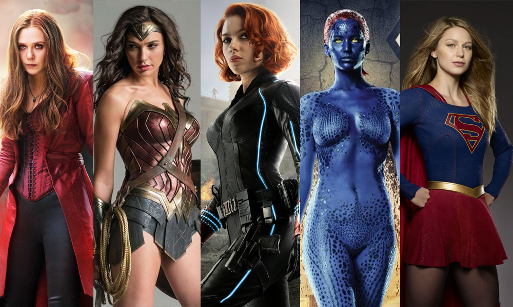 Superhero seksi yang diperankan artis cantik Scarlet Witch Wonder women Mystique Black widow super women super girl