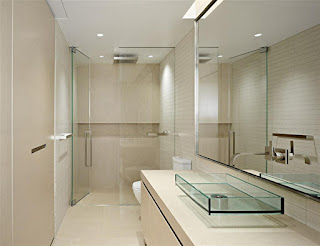compact small bathroom design feats rectangle glass sink plus ultra modern faucet also ceiling lighting