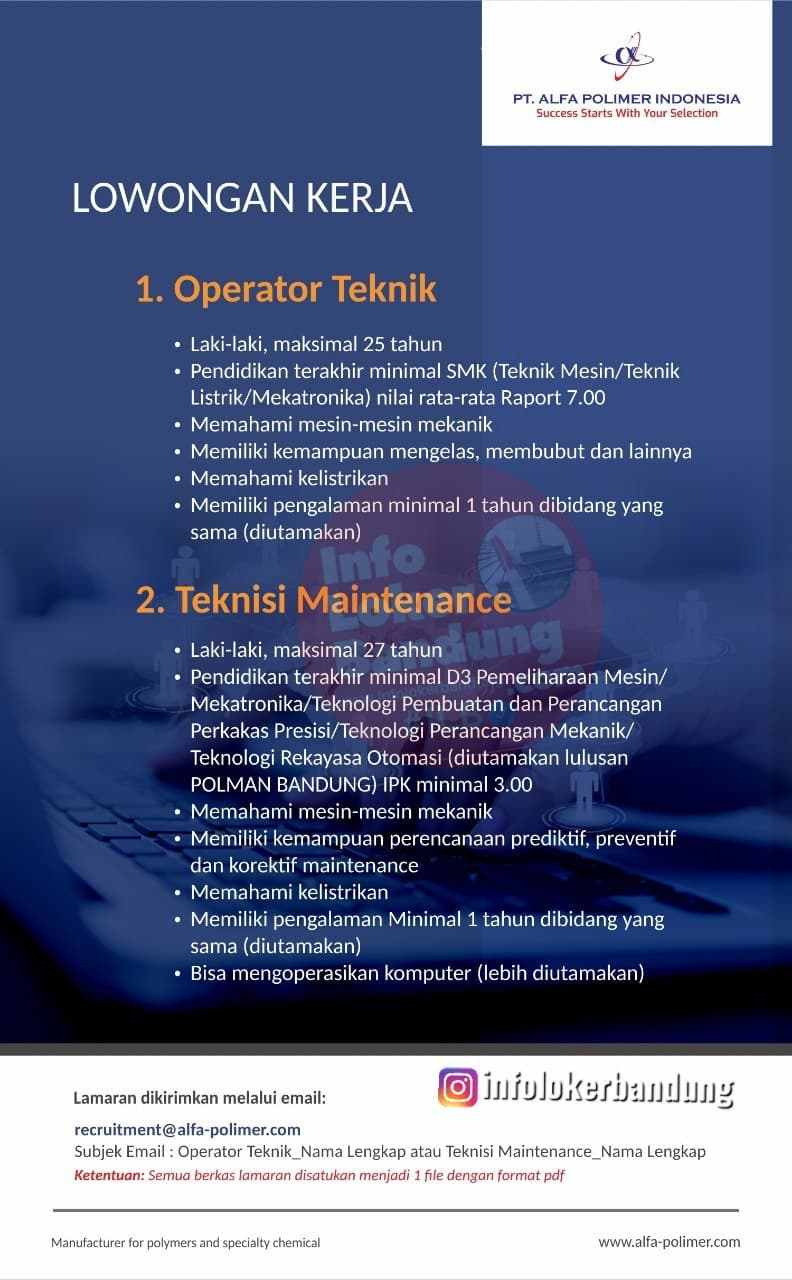 Lowongan Kerja Operator Teknik & Teknisi Maintenance  PT. Alfa Polimer Indonesia Bandung Mei 2021