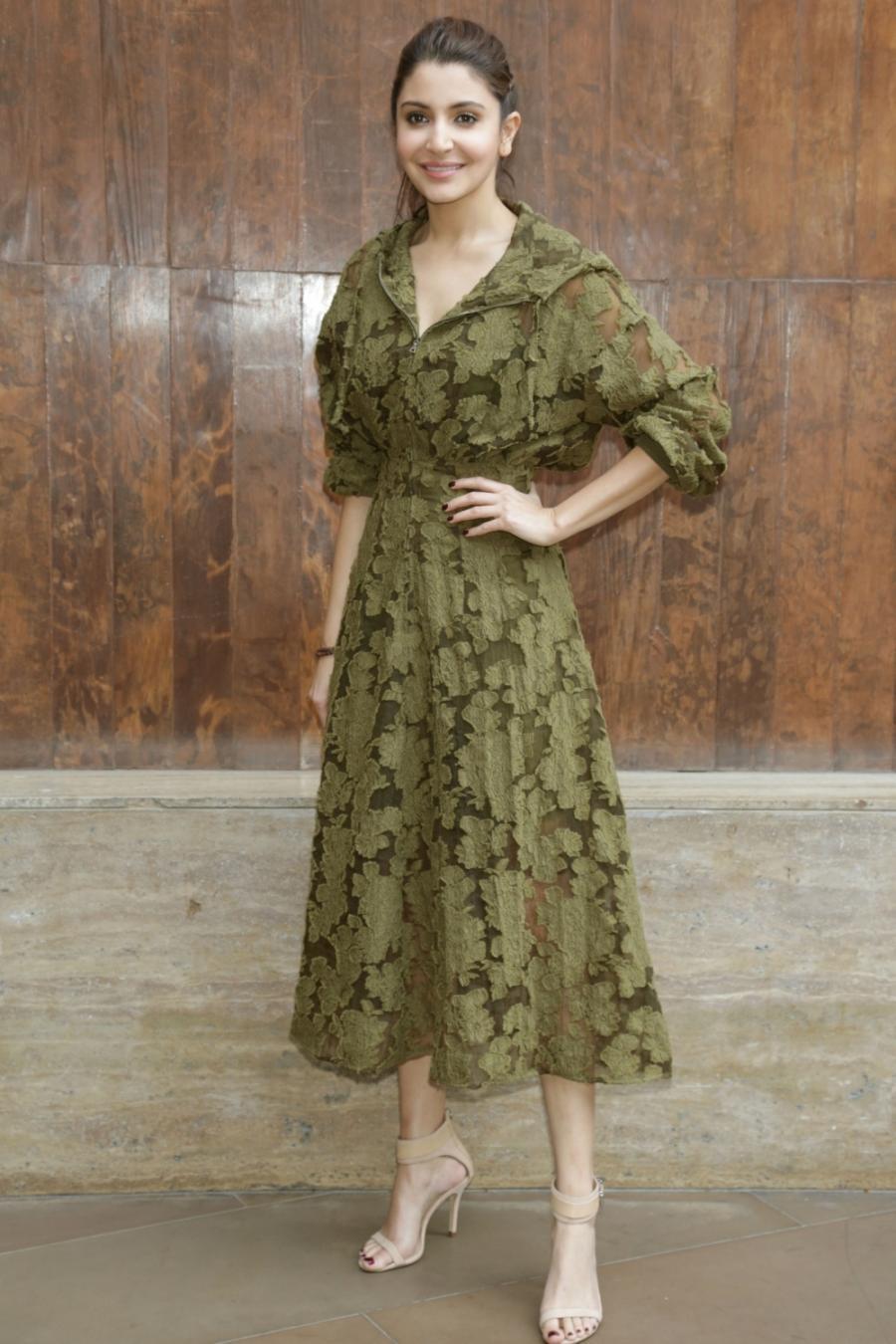 Anushka Sharma In Green Dress At New Delhi Film Promotional Event