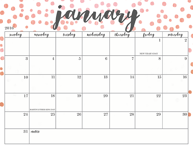 FREE PRINTABLE 2016 CALENDARS Oh So Lovely Blog – Free Printable Monthly Calendar
