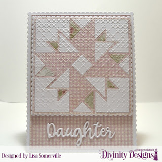Divinity Designs Custom Dies: Quilted Triangles, Squares, Scalloped Squares, Pierced Rectangles, Scalloped Rectangles, Family Names 2, Embossing Folder: Cross Stitch, Paper Collections: Shabby Rose